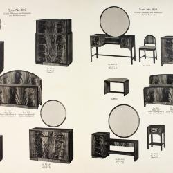 Furniture Plate, Holland Furniture Company, Crotch Mahogany and Gumwood with Burl Decoration