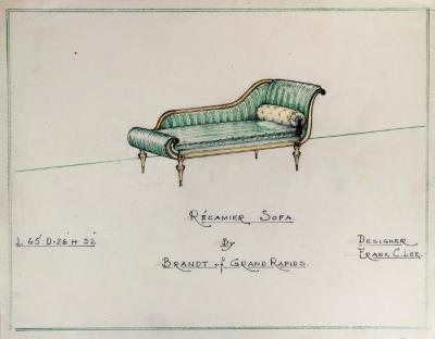 Drawing, Recamier Sofa, Design by Frank C. Lee
