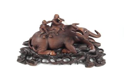 Carved Figure, Water Buffalo And Stand