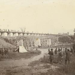 Photograph, 1st Michigan Engineers And Mechanics Building The Elk River Bridge