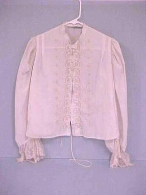 Blouse, Cream-colored, Cotton, Long Sleeves