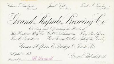 Trade Card, Grand Rapids Brewing Company