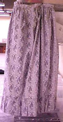 Skirt, Woman's, Ankle Length, Blue And White Cotton Paislely Print