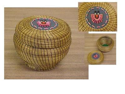 Coiled Sweet Grass Basket With Lid, Pink Beaded Design On Lid