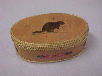 Oval Birch Bark Box With Porcupine Quill Applique