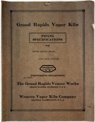 Booklet, Grand Rapids Vapor Kiln, Piping Specifications for Century Furniture Company
