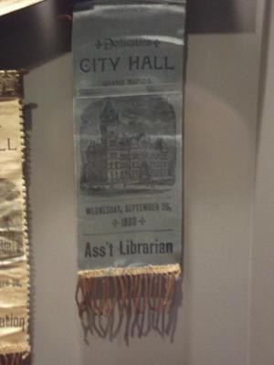 Souvenir Ribbon, Dedication Of City Hall, 'assistant Librarian'