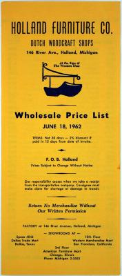 Price List Holland Furniture Company 1962