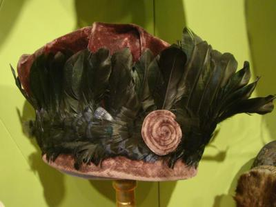 Hat, Purple Velvet With Green Feathers