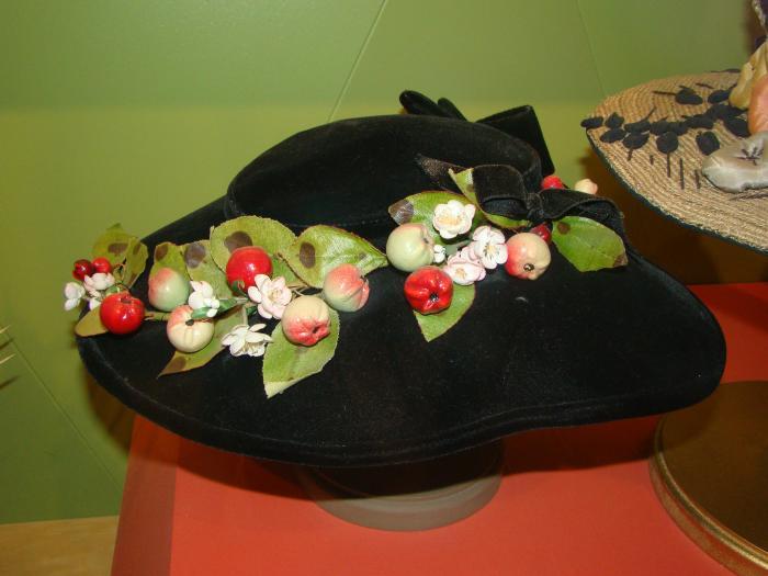 Hat, Black Velvet With Fruit Trim