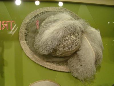 Hat, Cream Lace With Feathers And Net