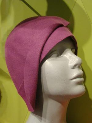 Hat, Purple Felt Cloche