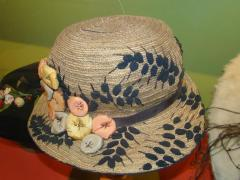 Hat, Green With Puffy Flowers