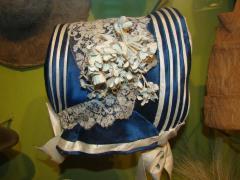 Hat, Blue Silk Bonnet With White Ribbon Trim