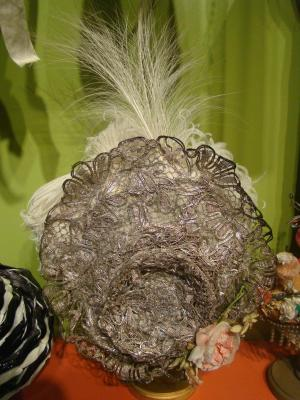 Hat, Metallic Silver Thread With Feathers