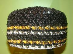 Hat, Black, Gold And Silver Sequin Cap