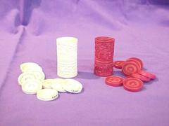 Carved Ivory Game With 21 Chips And 2 Cups