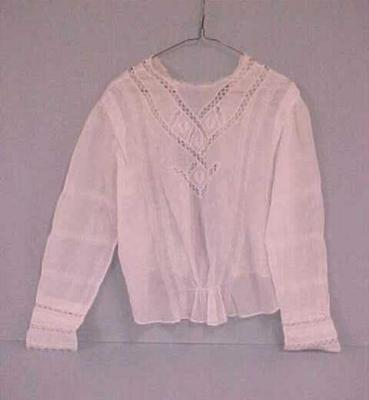Blouse, White Cotton, Long-sleeved, Back Buttoning