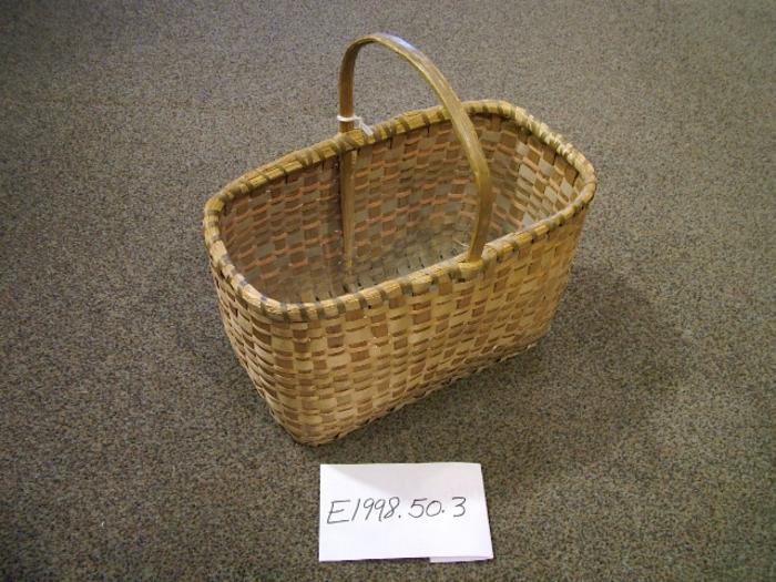 Black Ash Splint Basket With Handle