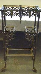 Brass And Marble Table With Dolphin Feet, 2-tiered