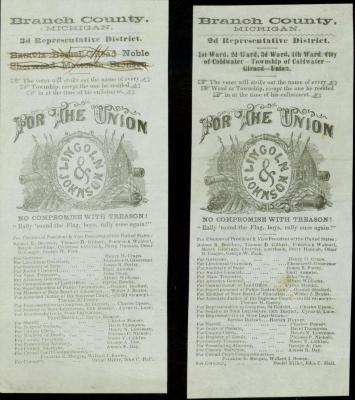 Two Soldier's Ballots. Lincoln And Johnson, Michigan 3rd Rep. District. Branch County, Michigan