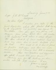 Letter to Captain J.W. McCrath from Fay Wyckoff