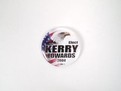 Political Pin-Back Button- John Kerry 2004 Election (Bald Eagle)