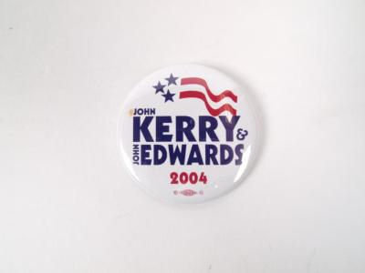 Political Pin-Back Button- John Kerry 2004 Election