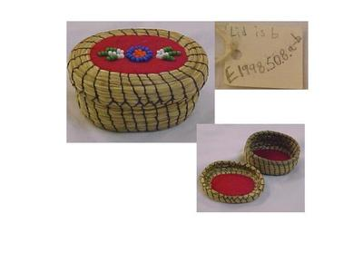 Coiled Sweet Grass Basket With Lid, Small, Red Felt Beaded Design On Lid
