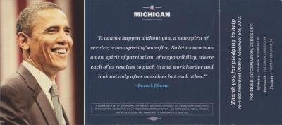 Campaign Postcard, Michigan Democratic State Central Committee - Barack Obama