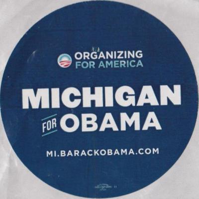 Political Sticker, Michigan for Obama