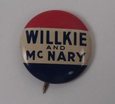 Campaign Button, Wilkie And Mcnary