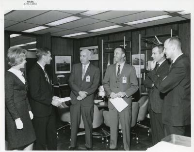 Photograph, Roger Chaffee receives U.S. Navy Air Medal and Citation