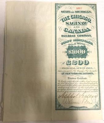 Bond, Chicago, Saginaw & Canada Railroad Bond, Serial #1017