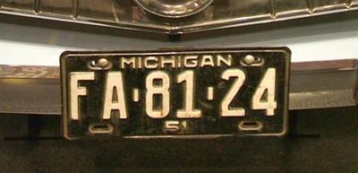 License Plate, Michigan Fa8124, 1951