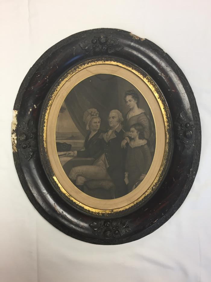 Framed, Engraving of George Washington And Family