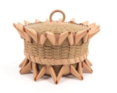 Lidded Basket With Porcupine Twist Details