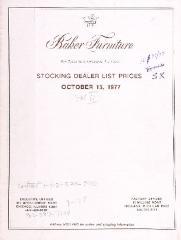 Price List, Baker Furniture Company, October 1977