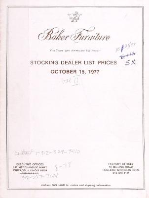 Price List, Baker Furniture Company, October 1977