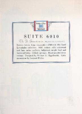 Autographed Suite Furniture Plate, Berkey & Gay Furniture Company, The De Grasse