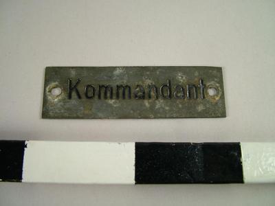 Nameplate 'kommandant'