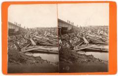 Stereoview, Workers Pose on Log Jam at DGH&M Railroad Bridge