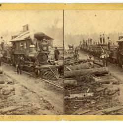 Stereoview, Lumbermen and Steam Engine