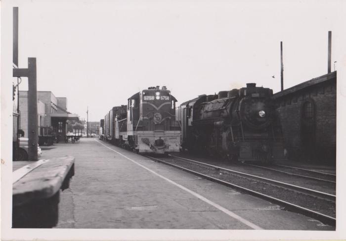 Photograph, Chesapeake and Ohio Railway, Engine #5758, and Unknown Railway (Possibly Atchison, Topkea and Santa Fe Railway), Engine #3752