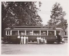 """Photograph, Electric Streetcar """"Sherwood Hall,"""" Lafayette Route"""