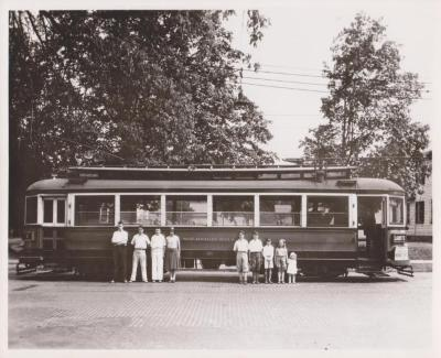 "Photograph, Electric Streetcar ""Sherwood Hall,"" Lafayette Route"