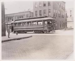 Photograph, Electric Streetcar Entering Intersection, Wealthy Street Route