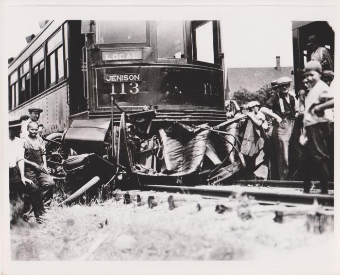 Photograph, Crash Scene After Collision Between Auto and #113 Interurban Grand Rapids/Jenison Train