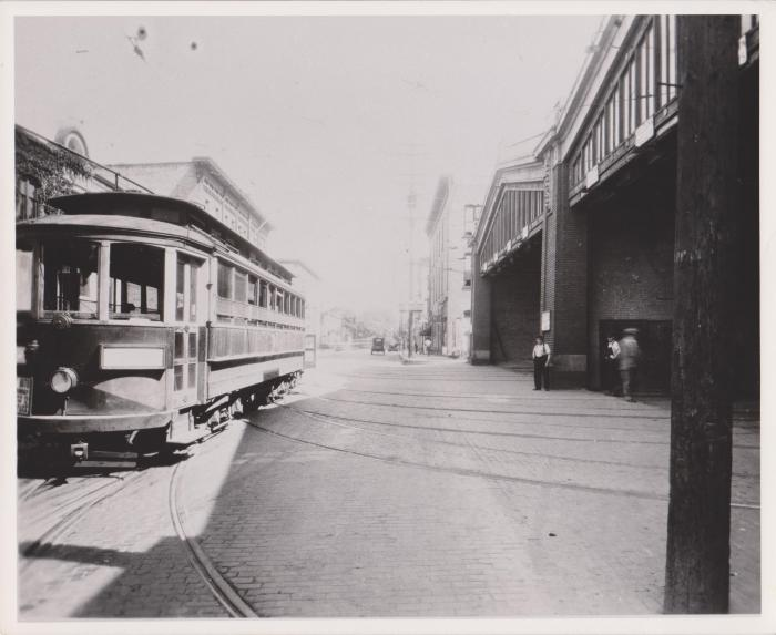 Photograph, Scribner Avenue Car Barn and Electric Streetcar