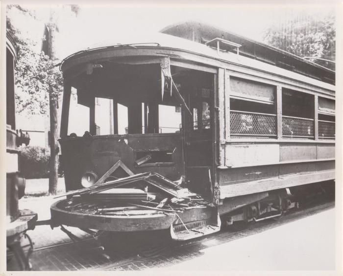 Photograph, Damaged Streetcar